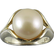 Cultured Button Pearl and Vermeil Ring