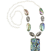"""Abalone Cultured Pearl and Sterling Silver Necklace 28"""""""