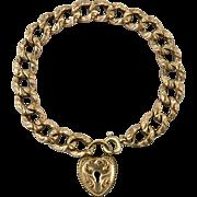 Antique Victorian Tooled Link Heart Padlock Bracelet by F&B Co. 10K Rose Rolled Gold