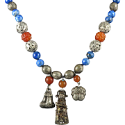 Chinese Silver Charm Necklace with Lapis and Carnelian 28""