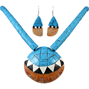 Santa Domingo Spiny Oyster and Turquoise Necklace and Earring Set