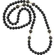 """14K Black Onyx and Cultured Pearl Necklace 32"""""""