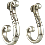 Fine Silver Swirled and Chased Earrings