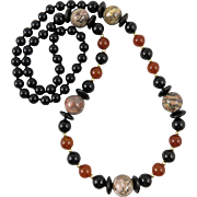 Jasper Carnelian and Black Onyx Necklace 30""