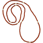 Red Carnelian and 14K Gold Beads 34""