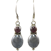 Hematite and Garnet Sterling Silver Dangle Earrings