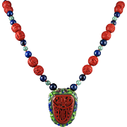 Chinese Art Deco Cinnabar Pendant Brooch with Lapis and Jade Necklace 29""