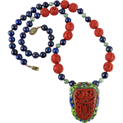 """Chinese Art Deco Cinnabar Pendant Brooch with Lapis and Jade Necklace 29"""""""