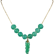 Chinese Finely Carved Chrysoprase Chili and Shou Bead Necklace 20""