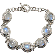Rainbow Moonstone and Sterling Silver Bracelet