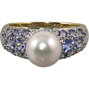14K Tanzanite South Sea Cultured Pearl Ring