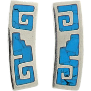 Bold Turquoise Inlay Sterling Silver Earrings