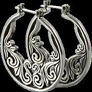 Scrolling Open Work Sterling Silver Hoop Earrings