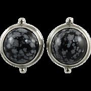 Snowflake Obsidian Button Sterling Silver Earrings