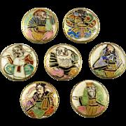 Meiji Period Japanese Satsuma 7 Gods of Fortune Button Set