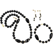 14K Gold and Black Onyx Necklace Bracelet and Earrings Set