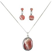 Rhodochrosite and Sterling Silver Pendant and Earring Set