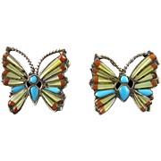 Stunning Gemstone Inlay Butterfly Sterling Silver Earrings