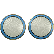 Stunning Guilloche Enamel Sterling Vermeil Earrings Opro Norway