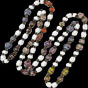 "1940s Venetian Wedding Cake Glass Necklace 58"""