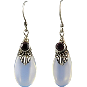 Garnet and Opalite Glass Teardrop Sterling Silver Earrings
