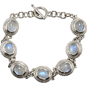 SALE Rainbow Moonstone and Sterling Silver Bracelet