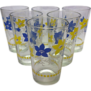 6 Perfect Vintage Blue and Yellow Swanky Swigs Tumblers