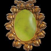 Antique ~ Victorian~ Art Nouveau~ Ornate Oval Brass Frame~ Floral Design
