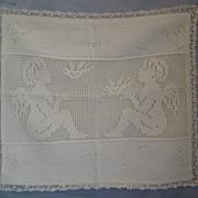 19th Century, Victorian , Lace, Crotchet,  Child's Pillowcase, With Angels, Cherubs, Birds