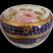 Vintage Nippon Cobalt Porcelain Trinket Or Powder Box, Hand Painted, Gold Gilt, Roses, Unmarke