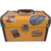 Vintage Travel Train Cosmetic Case With Decorative Hotel Labels
