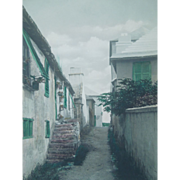 "Vintage Framed Hand Colored Photograph Of ""Shin Bone Alley"", Bermuda, Artist Signed,"
