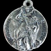 Vintage Large Sterling Religious St. Christopher Medal