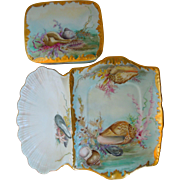 Antique Limoges Tressemann & Vogt, T&V, Hand Painted Porcelain Sardine Box And Tray With ...