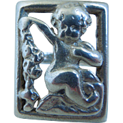 Vintage Sterling  Cherub Putti Ring By Parenti Sisters, Boston, Mass.