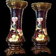 SALE Pair of Majolica Vases c. 1880 (believed to be Austrian)