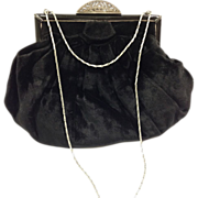 Vintage Black Velvet Purse with Marcasite Clasp c. 1930