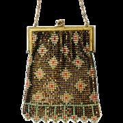 1920's Whiting & Davis Co. Multi-Color Enamel Mesh Bag