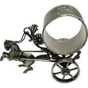 SOLD Silver Plate  Horse and Carriage Figural Napkin Ring