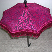 SALE Red Lace Over Black Folding Parasol Umbrella late 1800s early 1900s