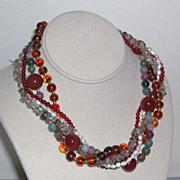 SALE Five Strand Gemstone Amber Jade Carnelian Quartz Torsade Necklace Sterling 126 grams mark