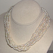 REDUCED Five Strand Freshwater Cultured Pearl Choker Necklace c. 1950/60s