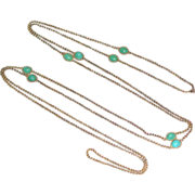 Very Old 14k Yellow Gold Long Chain Necklace Turquoise Cabachons 50 inches