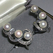 Mikimoto Cultured Pearl Engraved Sterling Screw Back Earrings marked c. 1930/40