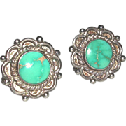 Sterling Turquoise Screw Back Earrings Native American marked