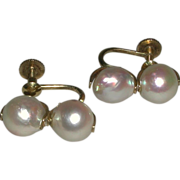 SALE 14k 585 Yellow Gold Baroque Cultured Pearls 9 mm Screw Back Earrings marked