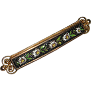 Antique Gold Filled Micro Mosaic Pietra Dura Pin Brooch Floral Motif late 1800s