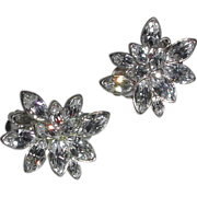 Vintage Clear Faceted Rhinestone Clip On Earrings Snowflake Motif signed Carolee