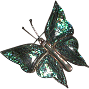 Abalone Sterling Butterfly Pin Brooch Mexico Artist marked