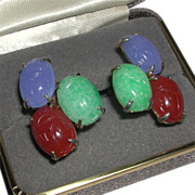 Tricolor Glass Carved Scarab Gold Tone Screw Back Earrings
